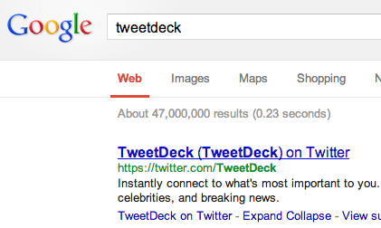 TweetDeck Google