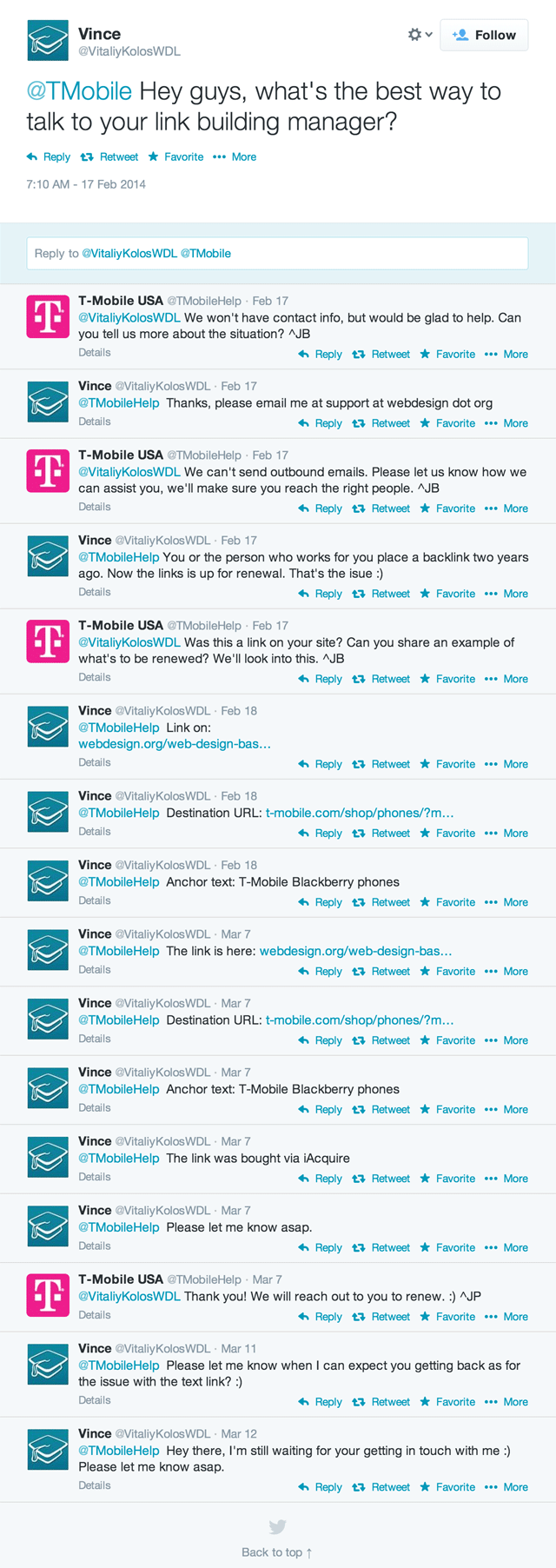 Twitter: T-Mobile & Web Design Link Exchange