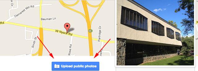 google maps upload button