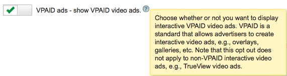 Google AdSense VPAID Ads Setting