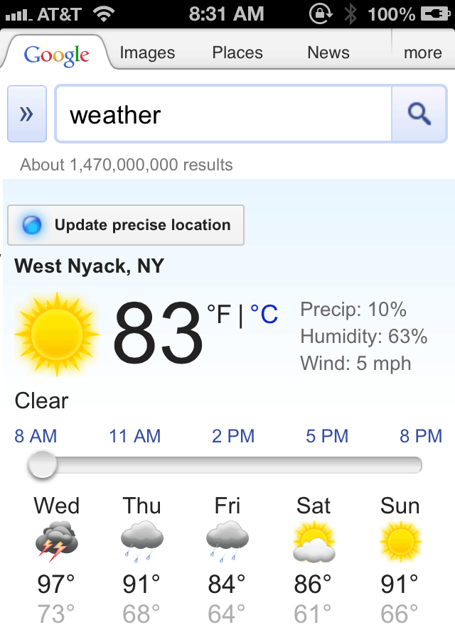 iPhone Google Weather