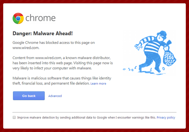 Google Chrome Blocks Wired