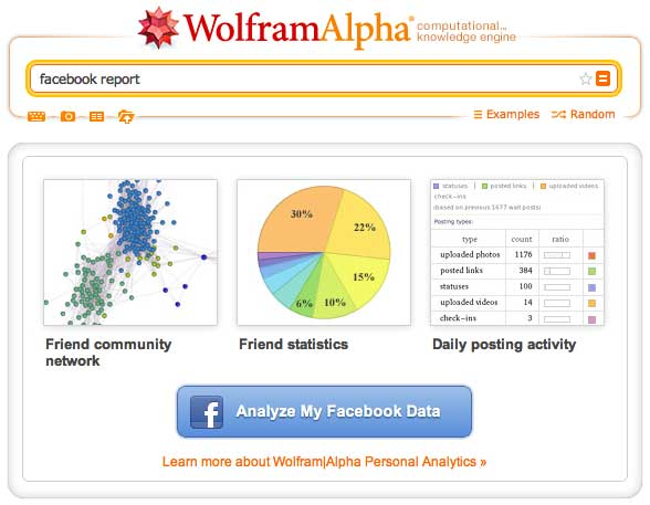 Wolfram|Alpha Facebook Analyze