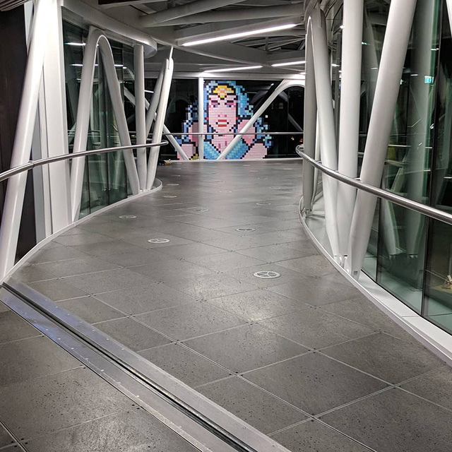 Wonder Woman Pixel Art In Google Dublin Sky Bridge