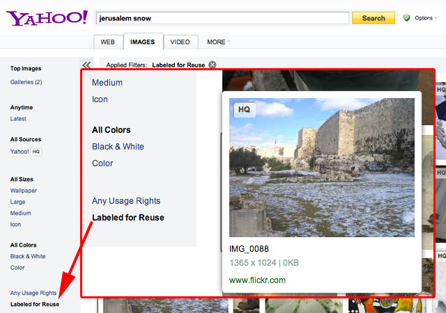Yahoo Image Search Powered By Bing Adds Flickr Photos & Creative Commons Filter