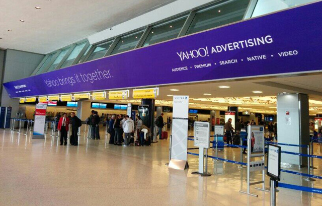 Yahoo Advertising Ads At JFK Security Line