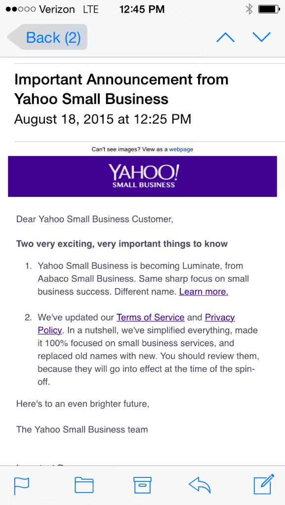 Yahoo Small Business To Change To Luminate From Aabaco