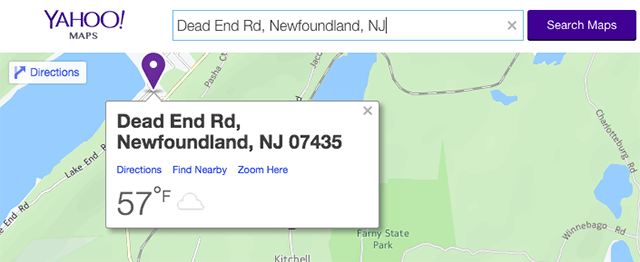 Yahoo Maps Dead End