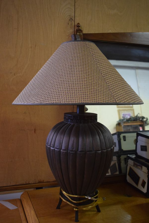 Large table lamp brown with with tan and brown woven lamp shade large table lamp brown with with tan and mozeypictures Images