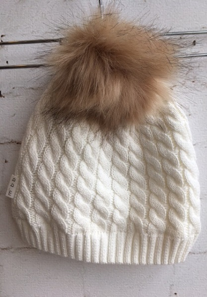 d359b2c8ebe8d Miles Baby Pom Pom Knit Hat Off White