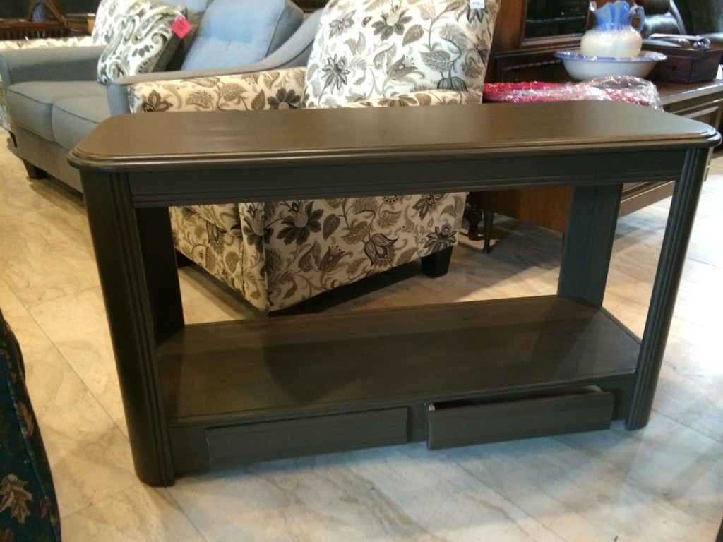 Green Wood Sofa Table-Two Drawer Storage