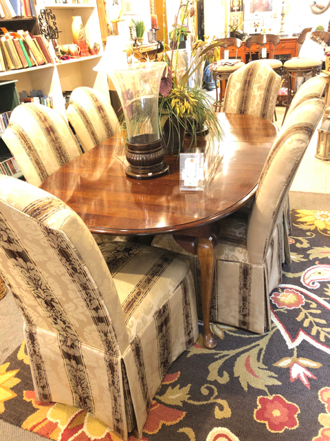 Amazing Dining Table W 6 Upholstered Chairs 2 Leaves Unemploymentrelief Wooden Chair Designs For Living Room Unemploymentrelieforg