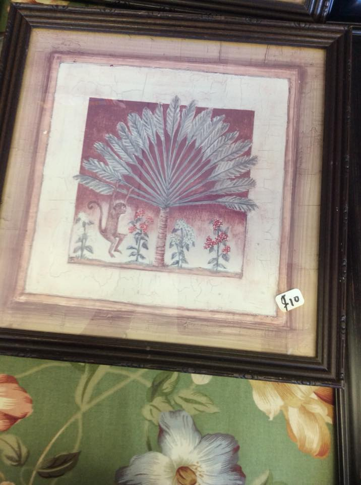 Framed Artwork of Palm Tree with Monkey Hanging Around | Endless Finds