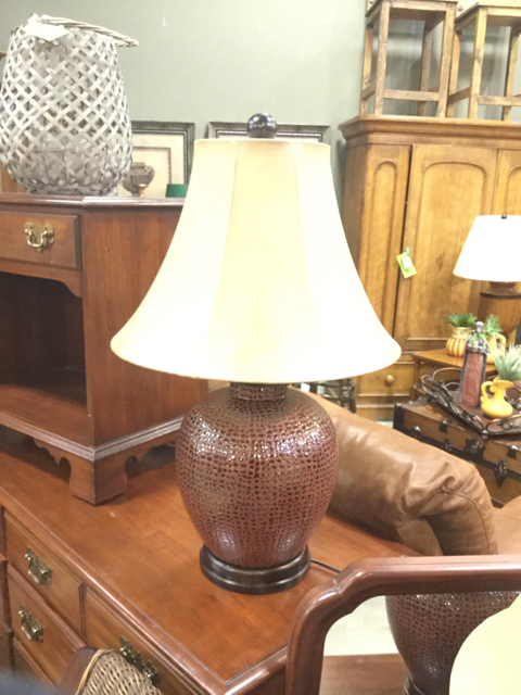 Ceramic Table Lamp With Brown Leather Look Finish Invio Fine