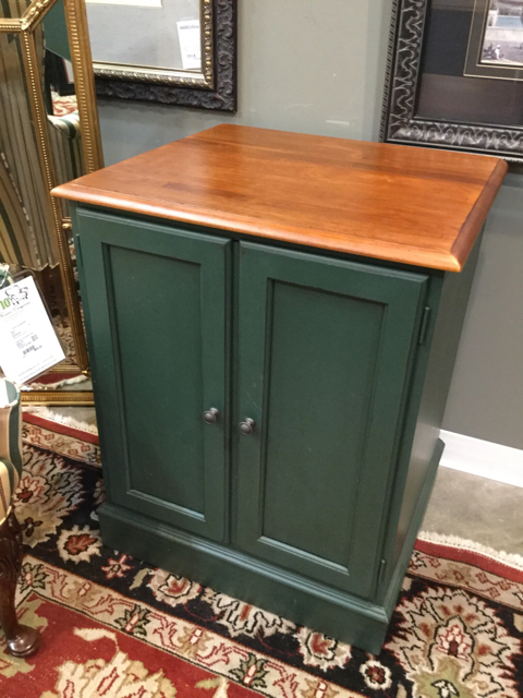 Ethan Allen Green With Wood Top Cabinet_23313A