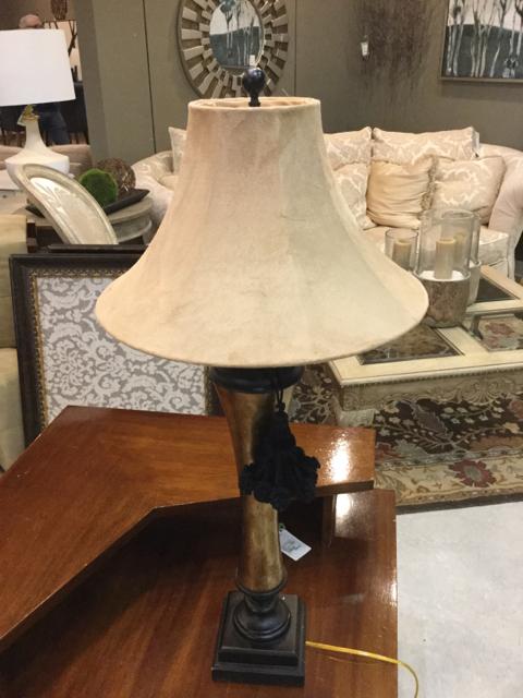 Gold Glass And Black Table Lamp Invio Fine Furniture Consignment
