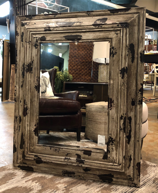New Large Distressed Wood Framed Mirror
