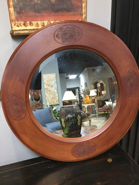 round leather mirror hanging roundleatherwrappedmirror26279ajpg round leather wrapped mirror invio fine furniture consignment