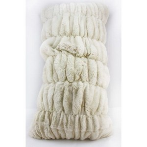 ADRI White Rex ruched 14 x29 fur pillow