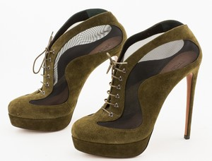 ALAIA Olive Green Suede Lace Up Booties with Black Mesh Accent