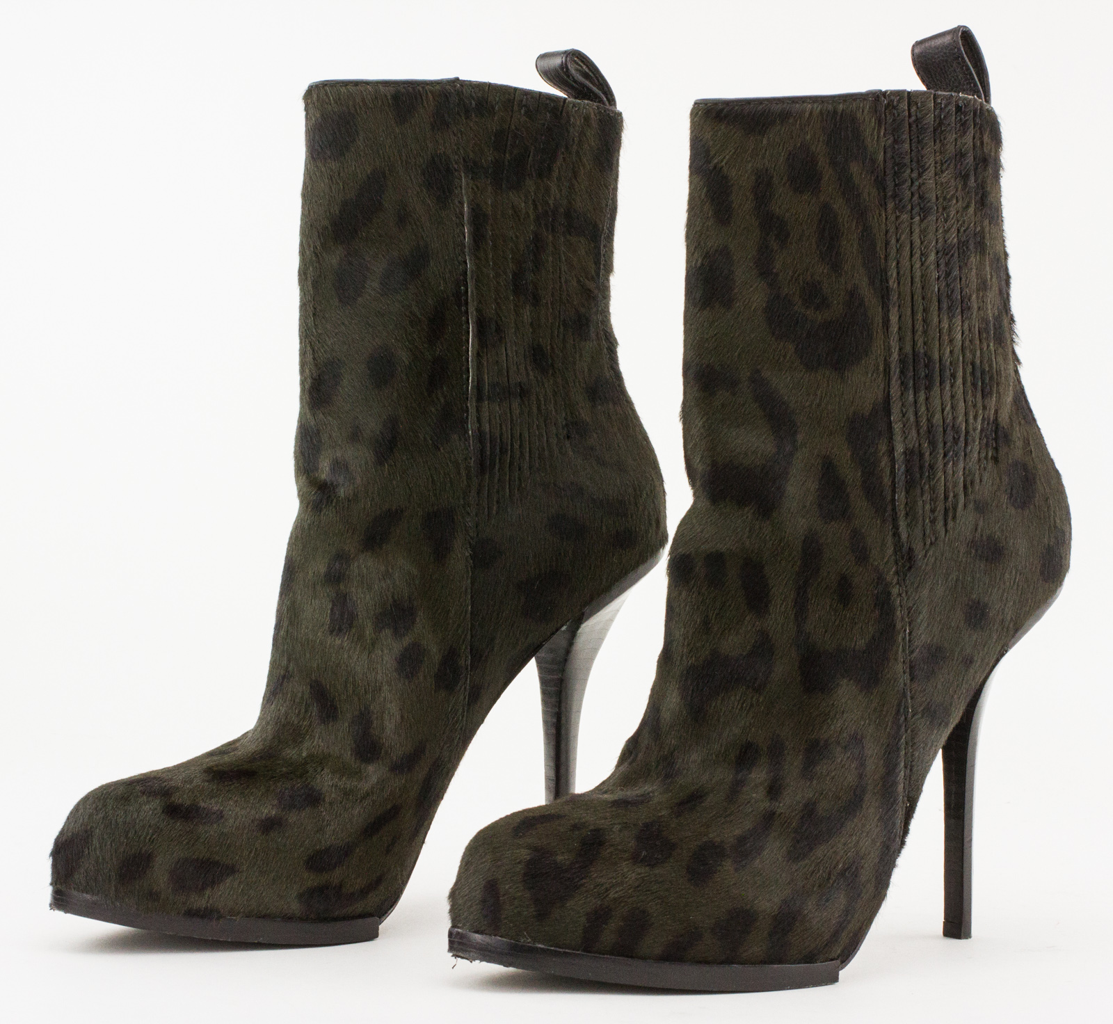 9522384ae4334 ALEXANDER WANG Olive Green Leopard Print Pony Hair Stiletto Booties ...