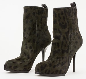ALEXANDER WANG Olive Green Leopard Print  Pony Hair Stiletto Booties