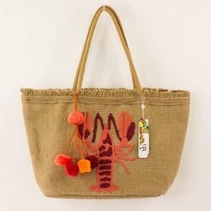 AMERICA AND BEYOND Lobster Tote with Pink and Orange Tassel