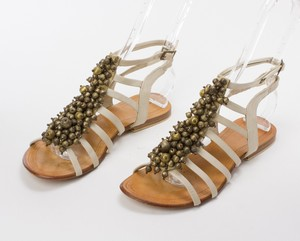 ANTIK BATIK Beige Strappy Flat Sandals w/ Beaded Brass Baubles Size 37 (US 7)