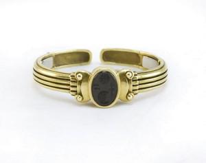 BARRY KIESELSTEIN CORD 18K Onyx intaglio cuff bracelet