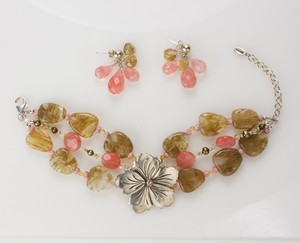 BARSE Sterling Silver Hibiscus Flower Bracelet & Earrings Set w/ Pink & Tan
