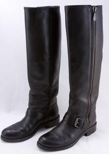 BOTTEGA VENETA Black leather biker boots with side zip buckle size 6.5 (36.5)