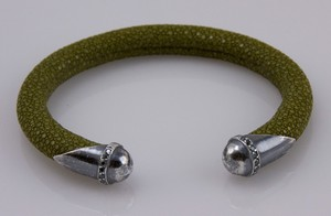 BRACELET Olive green stingray cuff with silver tips and blue diamond accents