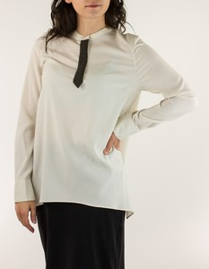 BRUNELLO CUCINELLI Cream Oversize Button Neck Long Sleeve Top