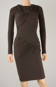 CARVEN Brown Long-Sleeved Knit Wool Dress w/ Side Zip & Ruching