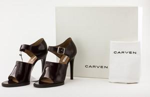 CARVEN Maroon Leather Buckle Open Toe Stiletto