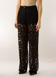 CHANEL Black Lace High Waisted Pants with Short Lining