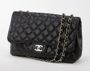 CHANEL Black Leather Caviar Classic Jumbo Flap Shoulder Bag w/ Silver Hardware
