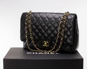 CHANEL Black Leather Caviar Maxi Flap Bag w/ Gold Hardware w/ Box & Dust Bag