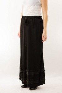 CHANEL Black Long Crepe Skirt with Purple Stitch Trim