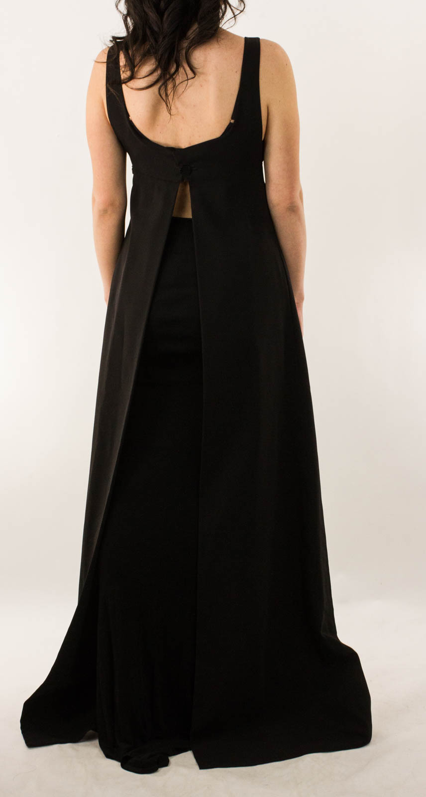 Chanel Black Rayon Full Length Evening Gown With Low Back