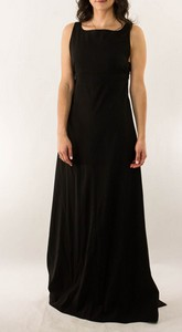 CHANEL Black Rayon Full Length Evening Gown with Low Back and Key Hole Accent