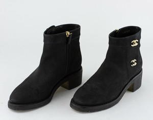CHANEL Black Suede Booties
