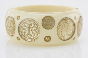 CHANEL Cambon Coin and Resin Hinge Bangle