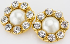 CHANEL Clip-on Gold Earrings with Pearl Center and Crystal Trim