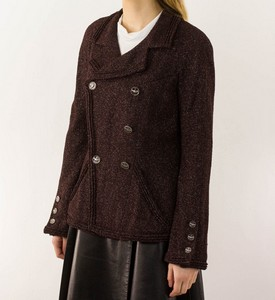 CHANEL Metallic Burgundy Heavy Blazer