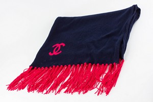 CHANEL Navy and Pink Scarf