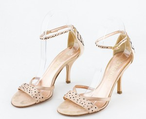 CHANEL Peach Satin Sandals with Embroidered Flower Accent