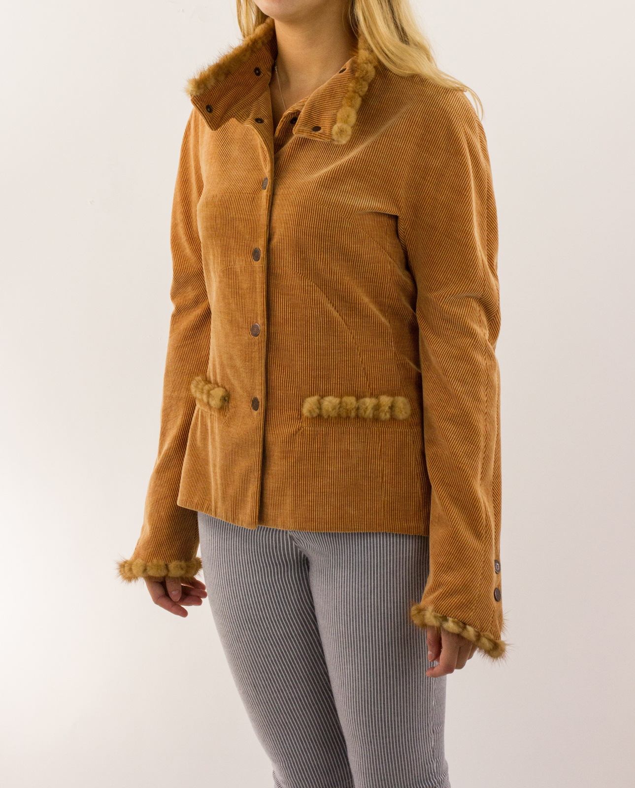 Chanel Tan Corduroy Jacket With Fur Trim Penny Pincher Boutique