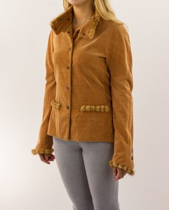 CHANEL Tan Corduroy Jacket with Fur Trim
