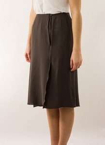 CHANEL Taupe Silk Pleated Wrap Skirt